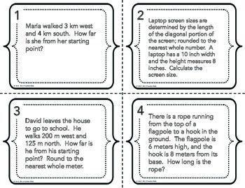 Pythagorean Theorem Word Problems Task Cards | Pinterest | Word ...