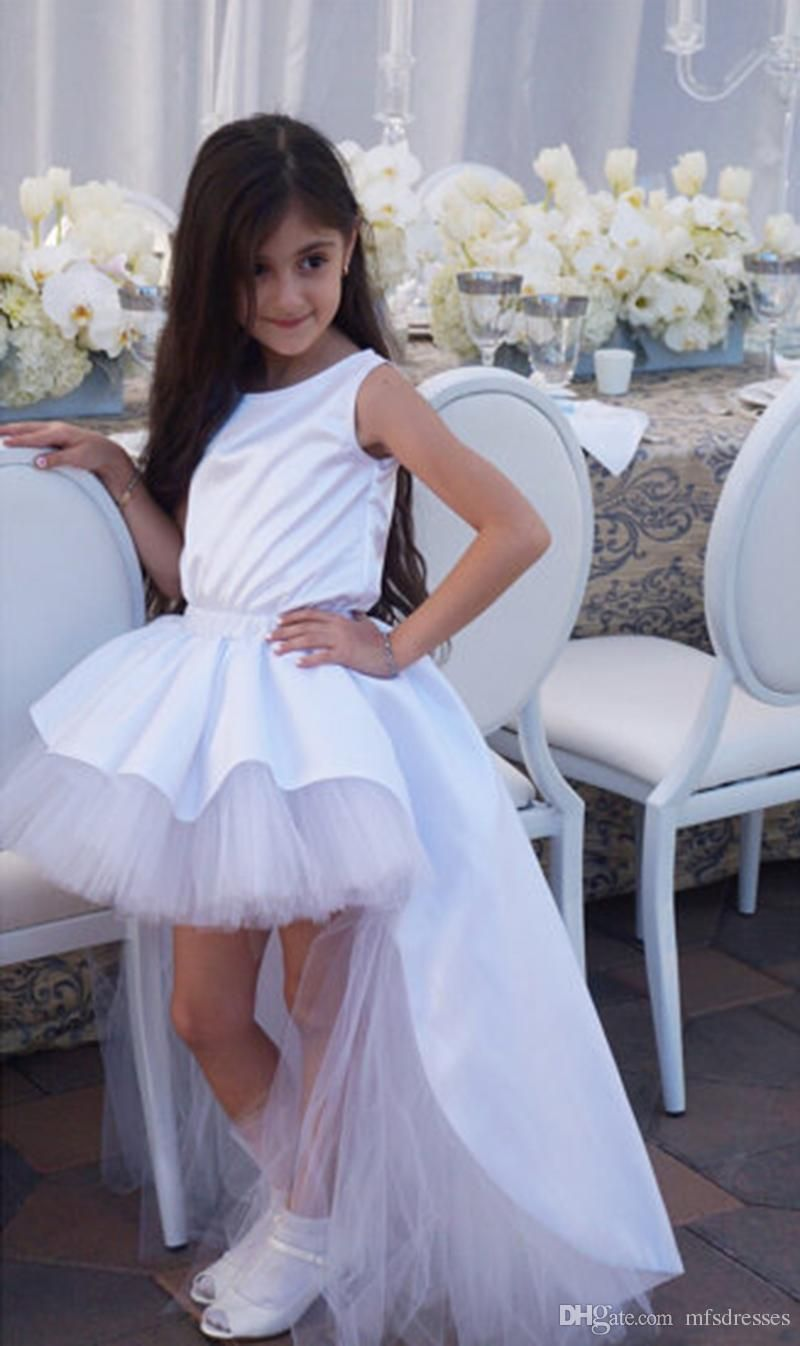 Baby Kid High Low Wedding Pageant Birthday Communion Lace Up Flower Girl Dress
