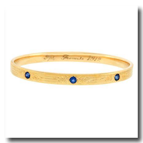 Inv. #16034  Sapphire-set Gold Bangle 14k c1910 Newark NJ. Lawrence Jeffrey Estate Jewelers