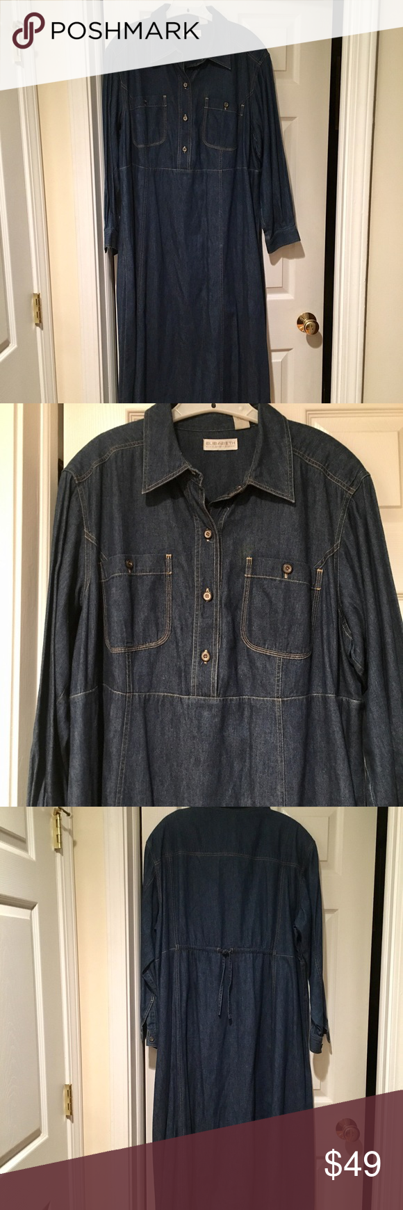 Great condition liz claiborne blue jean maxi dress long sleeves with
