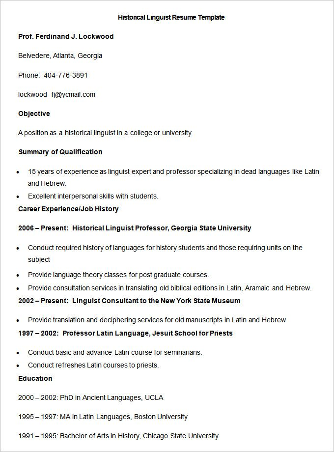 Sample Historical Linguist Resume Template , How to Make a Good - college professor resume sample