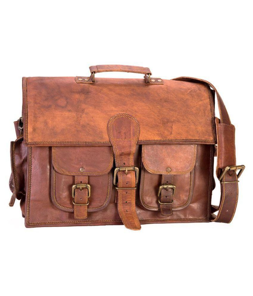 3e48d11351e3 IN-INDIA 2 Pockets Brown Leather Office Messenger Bag  theimmart   buyatwebsite  exclusive  3DaysDelivery  techlaunches  CODINDIA