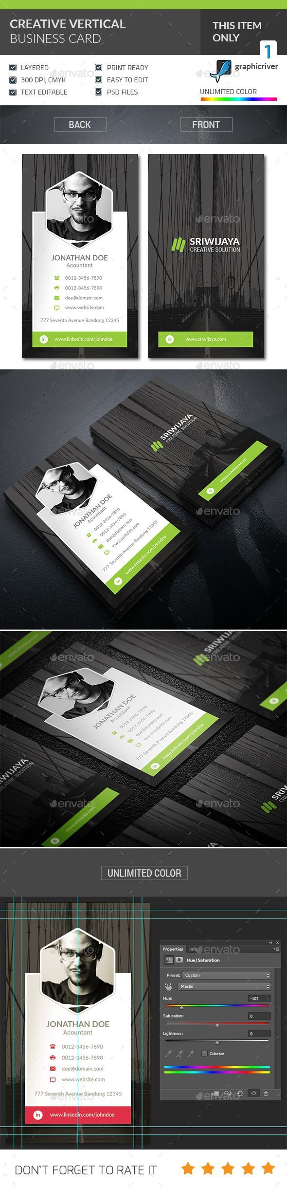 Creative Vertical Business Card | Vertical business cards, Business ...