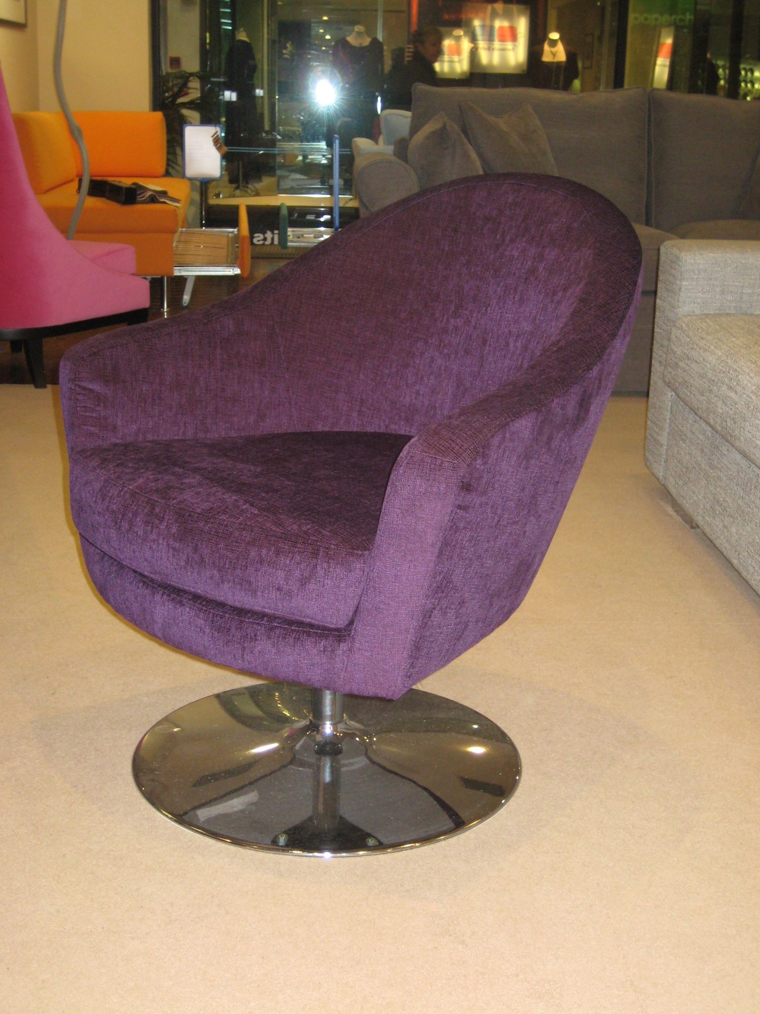Willow, purple velvety fabric. This is on a chrome swivel