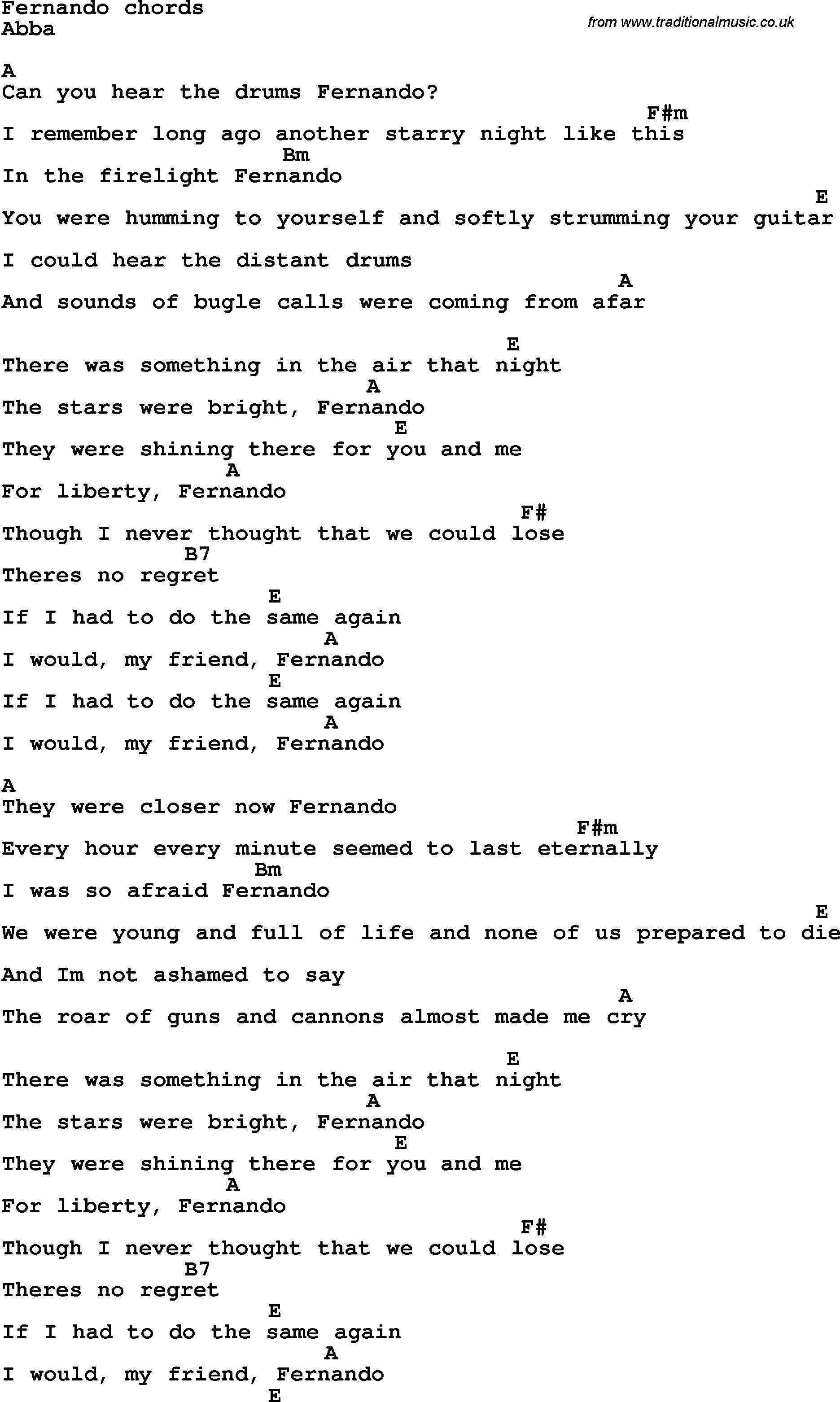 Song Lyrics With Guitar Chords For Fernando In 2020 Songs Pop Song Lyrics Lyrics