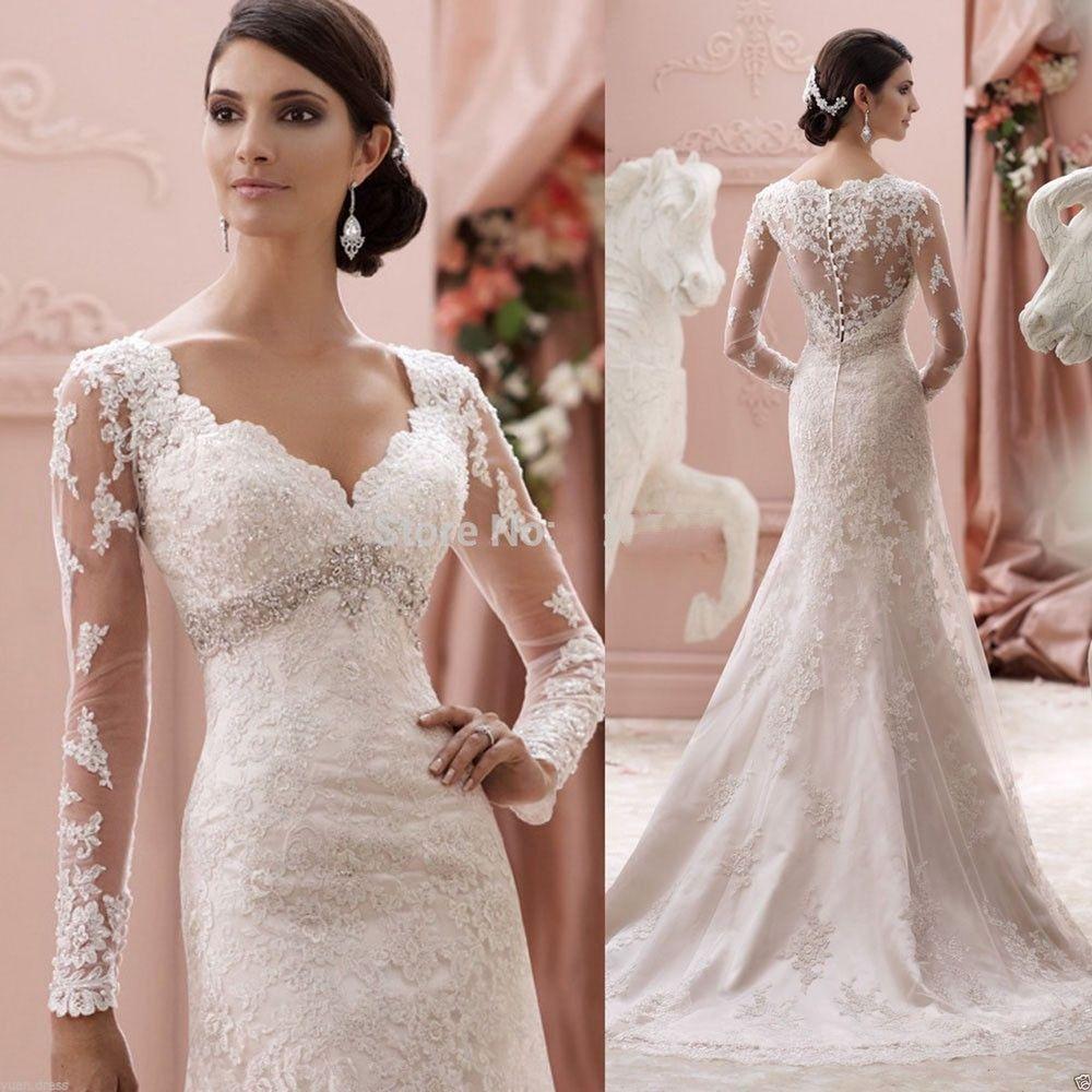 Cheap White Ivory Wedding Dresses Mermaid Lace Appliques: New Long Sleeve Mermaid Lace Applique Wedding Dress Custom