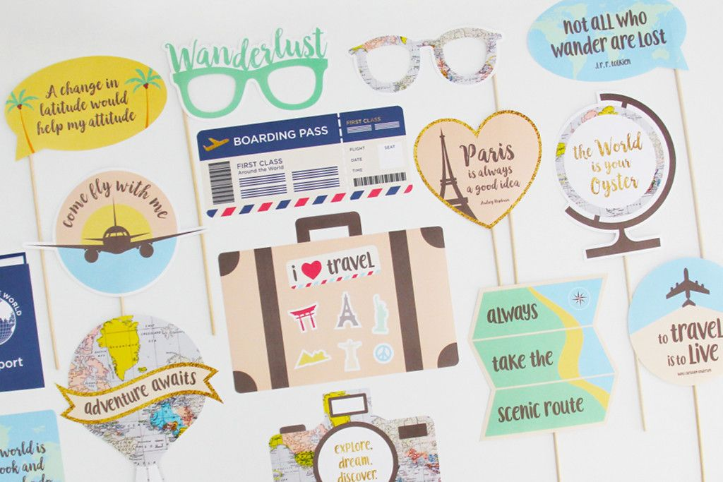 Travel Party Photo Booth Props Printable Instant Download Travel