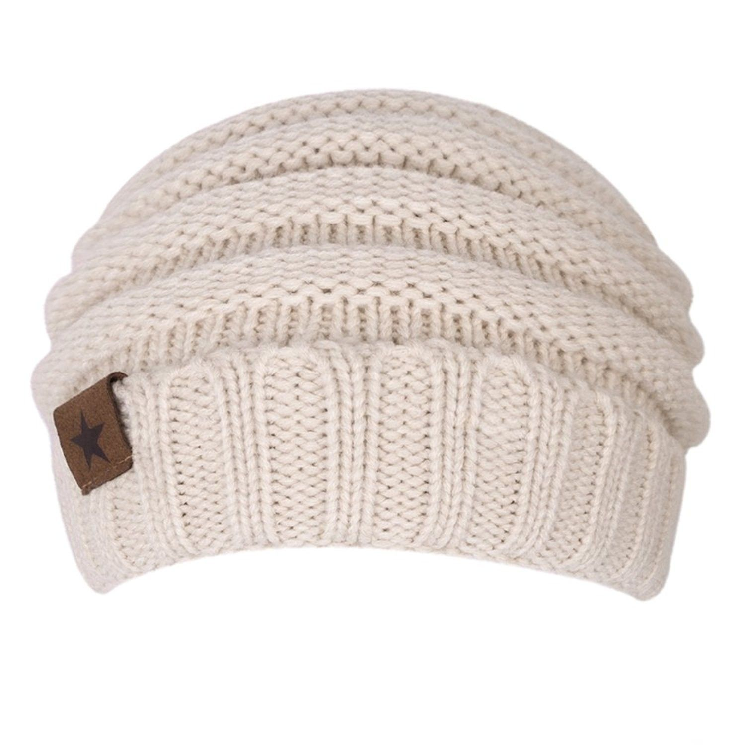 Beanie Hat- Women s Winter Fleece Lined Cable Knitted Beanie Hat - Beige -  C8186G4GY52 - Hats   Caps 9584d0cdbe2