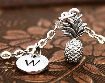 Pineapple Necklace, Initial Necklace Personalized Necklace, Engraved Necklace, Custom Necklace, Tropical Necklace, Monogram Necklace, Charm