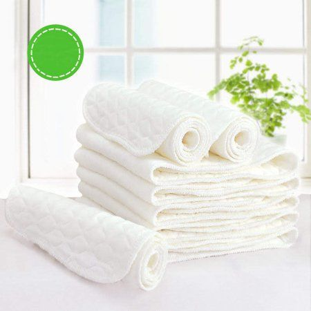 10 Layers White Cloth Cotton Baby Inserts Nappy Liners Diapers Washable Reusable