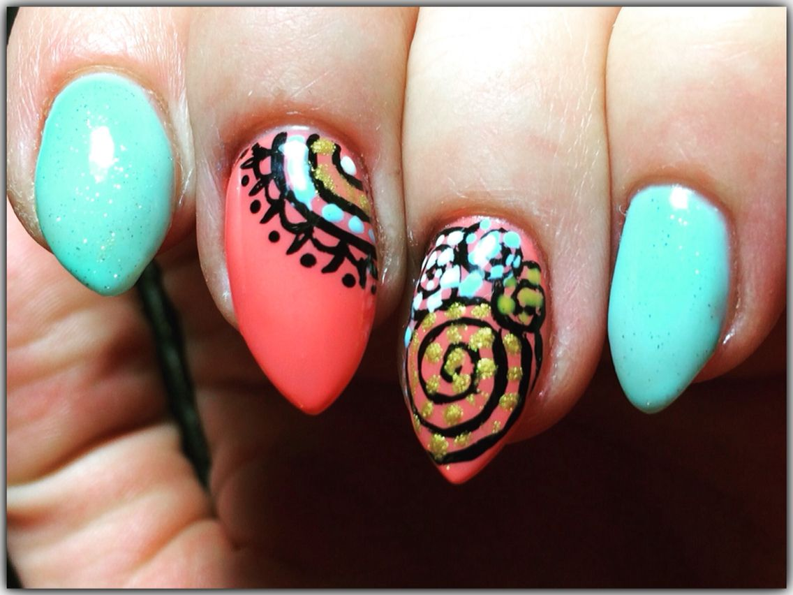 Bright gel nail art for spring 2017. Pale blue and bright pink with ...
