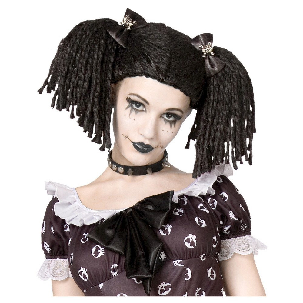 halloween gothic rag doll costume wig black, girl's | products in