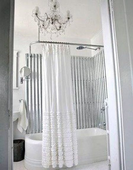 corrugated metal, chandelier, and beautiful shower curtain. Love it ...