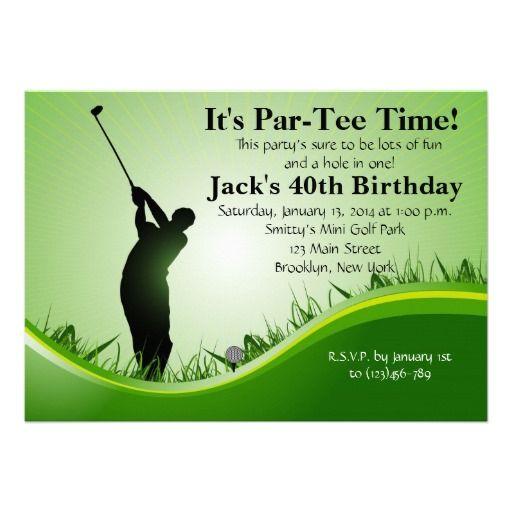 Man Golf Birthday Invitation 50th Party Themes 70th Invitations 40th Bday Ideas