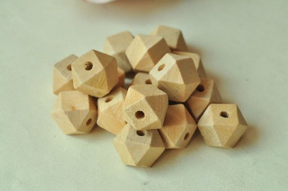 16mm Geometric Wood Bead 20pcs Unpainted Natural Wooden Necklace Faceted 2.5mm