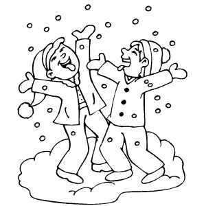 Children Playing In Snow Coloring Pages Winter Coloring Pages