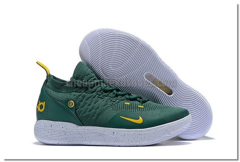 KD 11 Yellow Nike KD 11 (XI) Army Green Yellow White Basketball Shoes | White ...