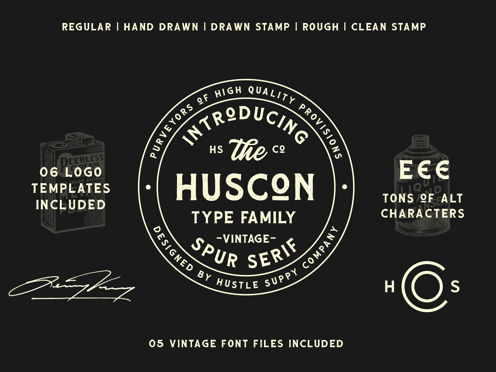 Huscon A Vintage Spur Serif Typeface Typeface Serif Typeface Vintage Fonts