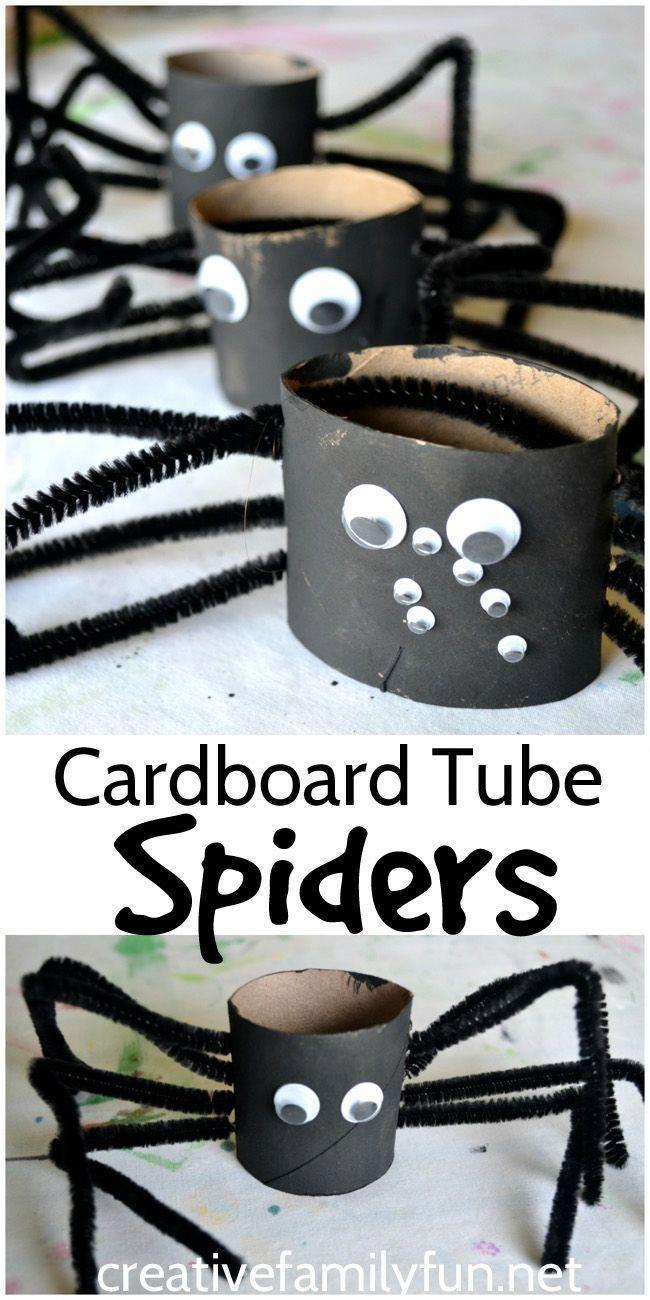 Machen Sie diese lustigen und gruseligen Spinnen aus Papprohren. Es #bricolagehalloweenenfant