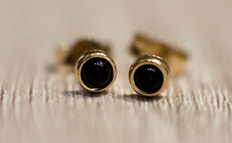 Black Onyx Stud Earrings In Solid 14k Yellow Gold