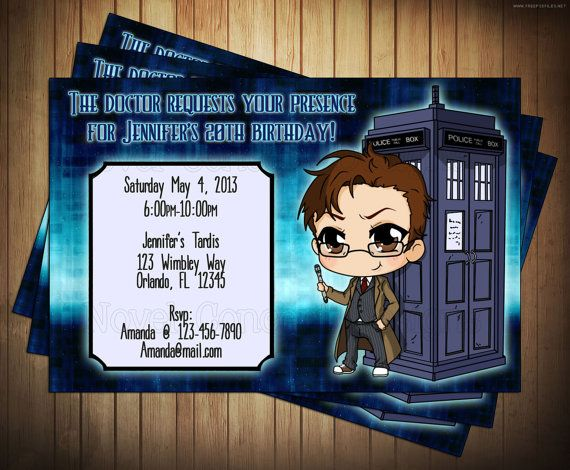 Diy doctor who birthday invitation party doctorwho pinterest novel concept designs doctor who birthday invitations thank you cards and graduation announcement stopboris Gallery