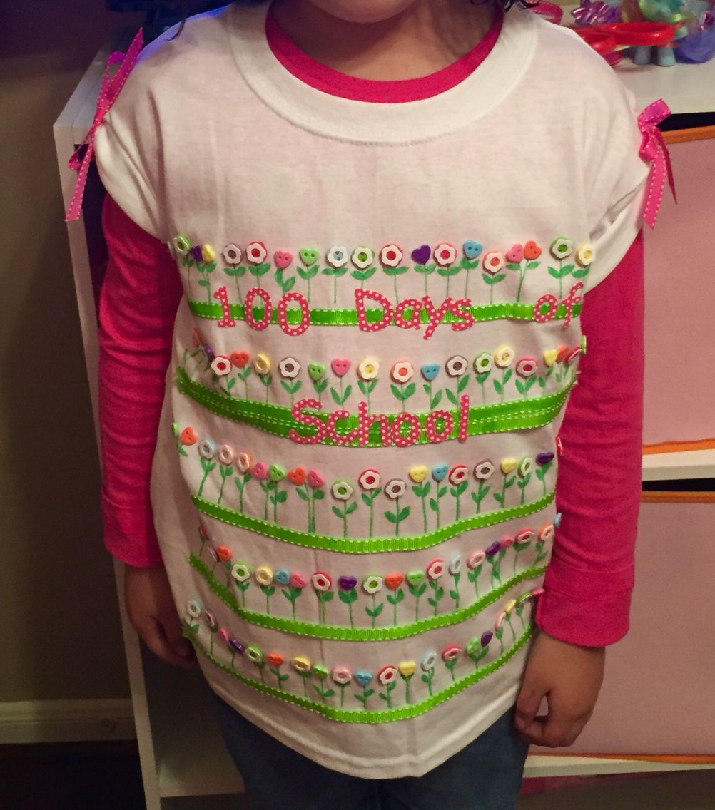 100 Days Of School T Shirt Idea Bottons Ribbons Markers And
