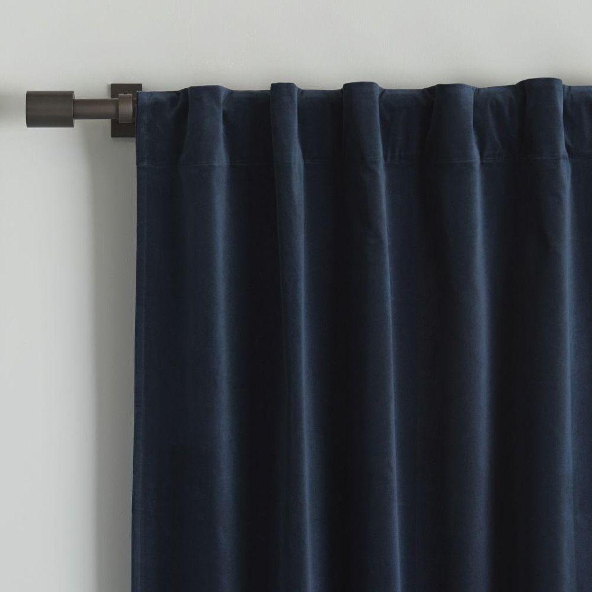 Velvet Pole Pocket Curtain Regal Blue Home Curtains
