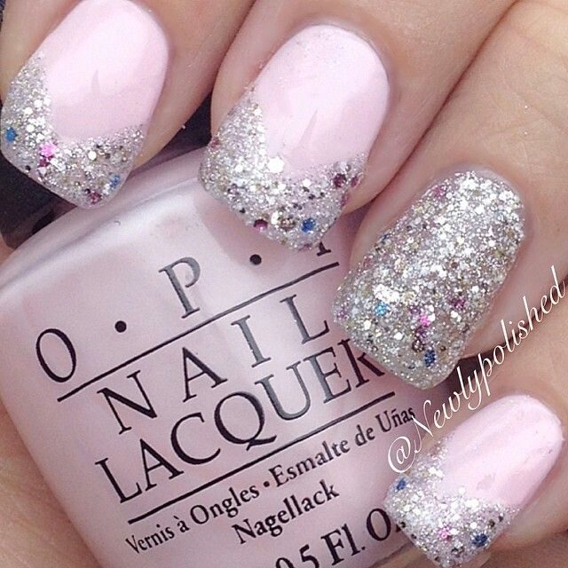 Baby pink glitter nail art , winter nails, christmas nails, glitter tips - Pastel Pink And Silver Manicure DIY Pinterest Pastel Pink