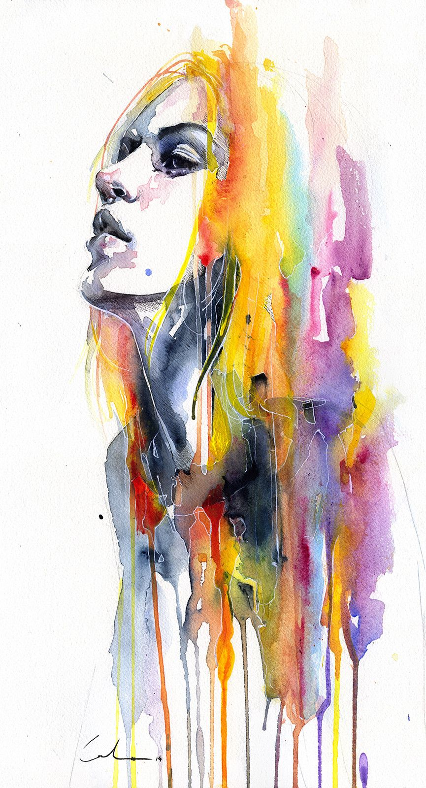 Choking Hazard Contemporary Watercolor Portrait Painting By