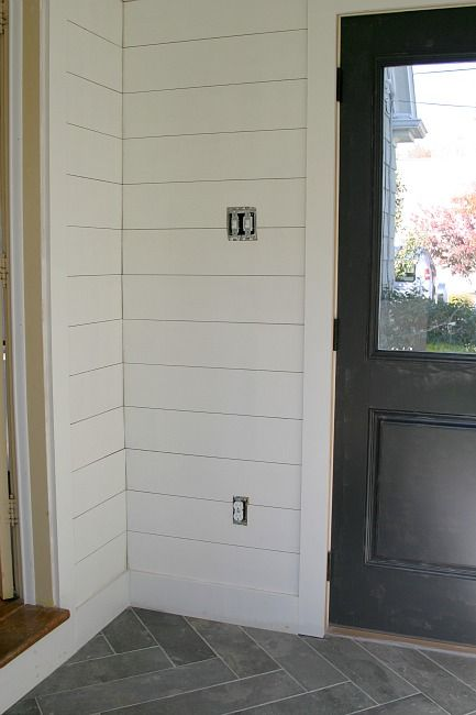 One Room Challenge Classic Mudroom Shiplap Is 1 4 Inch Thick Plywood Ripped Into 6 Inch Wide Planks Diy Wainscoting Wainscoting Height Wainscoting Bathroom