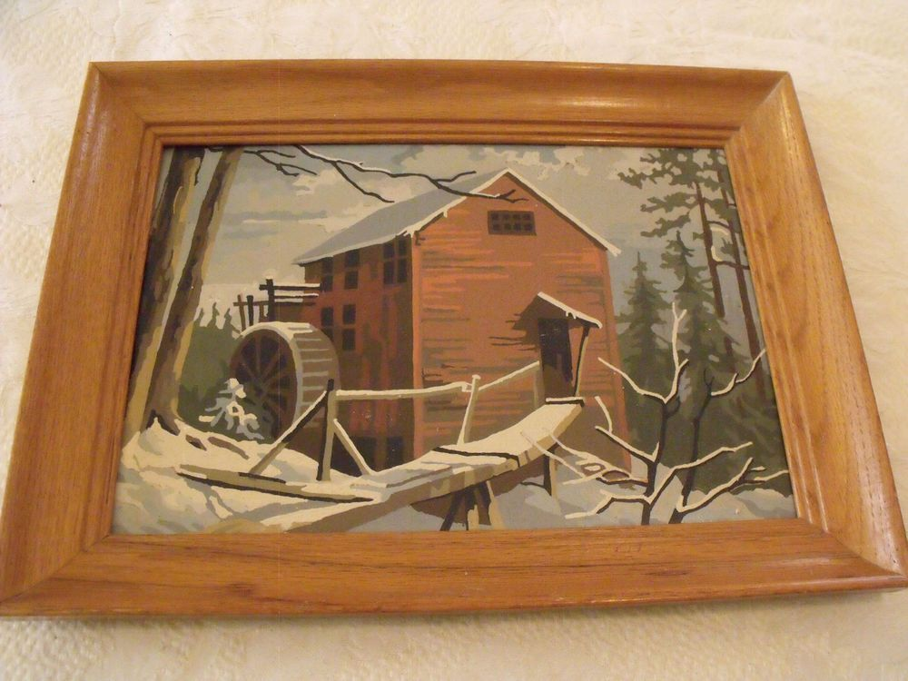 Vintage Snowy Red Barn Water Wheel Woods Paint By Number PBN 10x14 ...