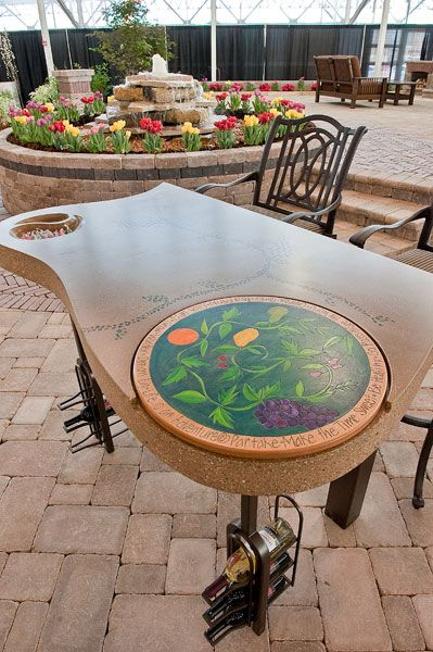 Decorative Concrete Table With Stained Concrete Accents Decorative - Stained concrete table
