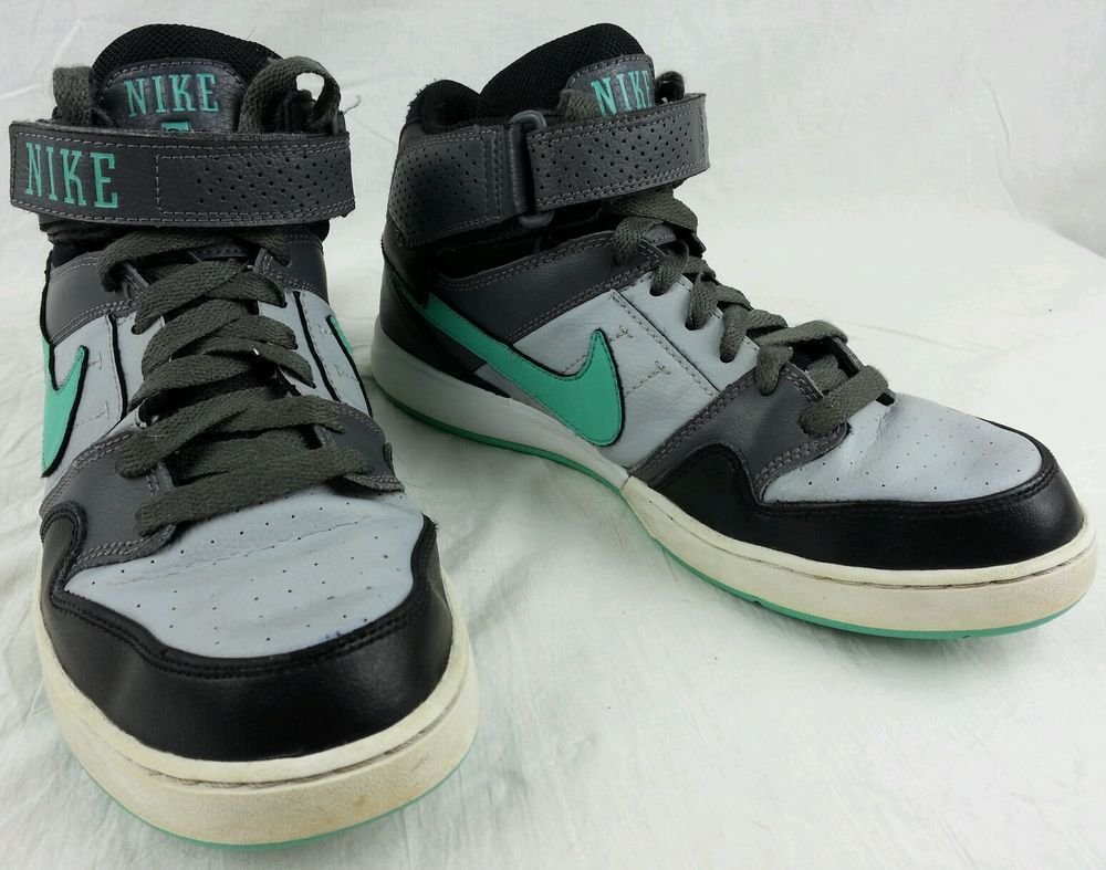 NIKE AIR ZOOM Mens 8.5 High Black Gray Teal Athletic Basketball Shoes Velcro  #Nike #AthleticSneakers