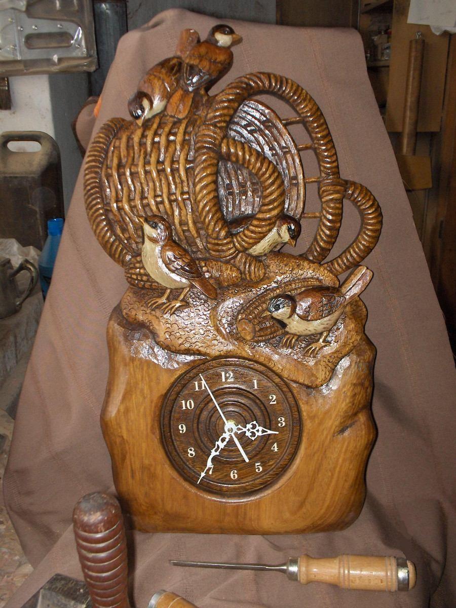 Reloj Artesanal Tallado A Mano Con Gorriones | Reloj artesanal ...