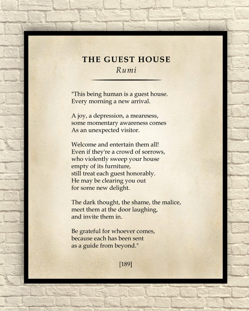 The Guest House Poem Classic Poem Art Print Poetry Wall Art Etsy Classic Poems Rumi Rumi Poem