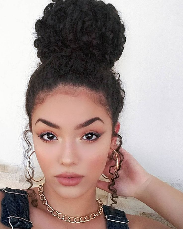 Curly Top Knot Curly Bun Hairstyles Curly Hair Styles Curly Hair Tips