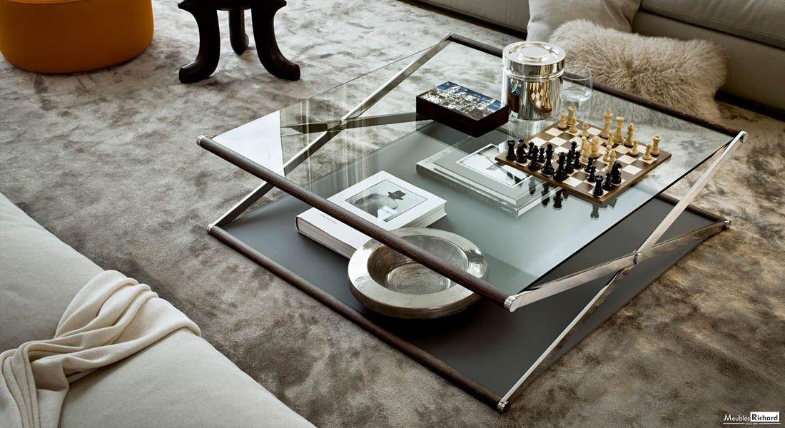 Table Basse Haut De Gamme Verre Metal