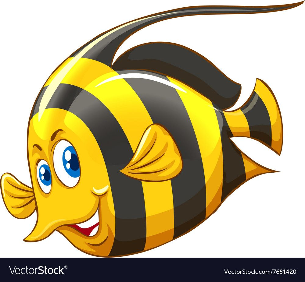Fish With Yellow And Black Striped Vector Image On Vectorstock Black Stripes Vector Images Fish