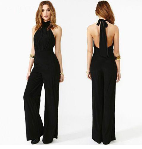 735e050b584c Sexy-Women-Lady-Chiffon-Casual-Sleeveless-Black-Jumpsuit-Halter-Neck-Romper
