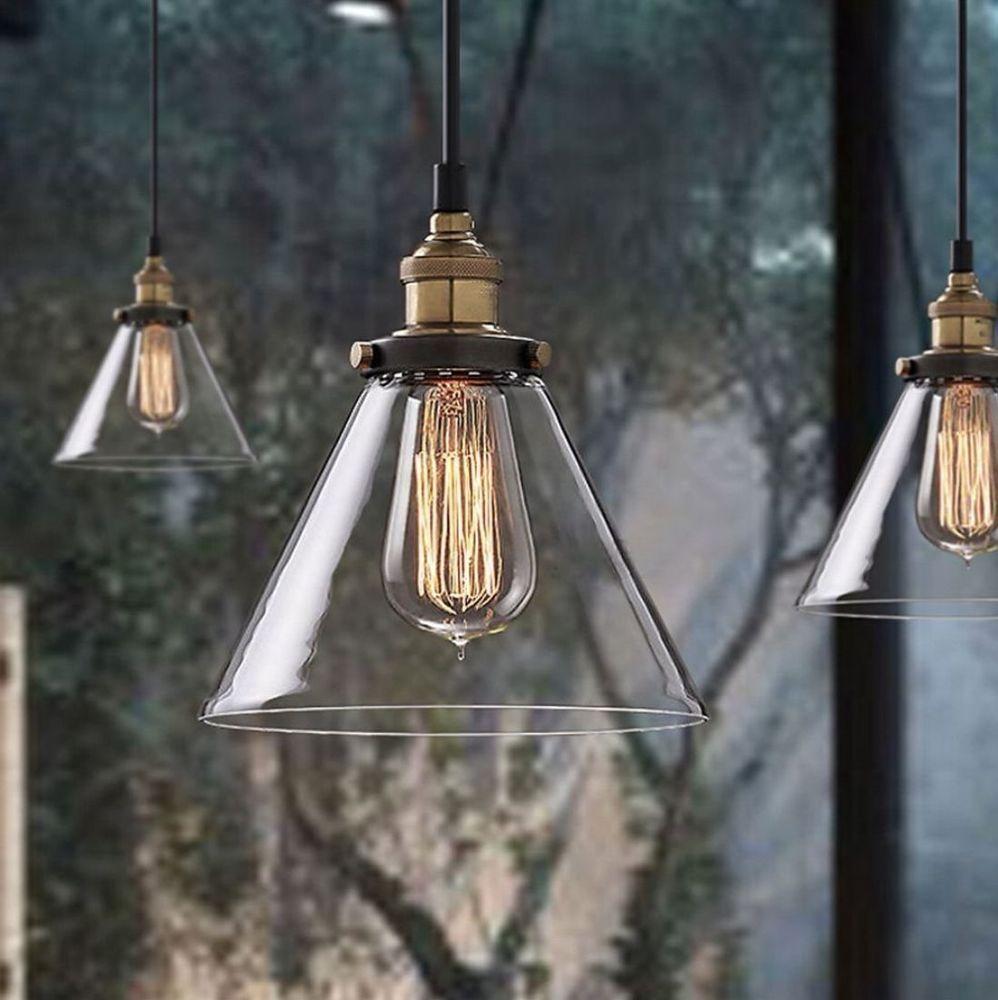 INDUSTRIAL LARGE MODERN VINTAGE LIGHT METAL GLASS CEILING PENDANT LOFT CLUB LAMP