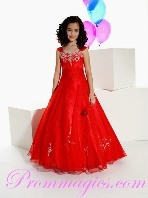 a637c67e8057 Bold Straps Organza Embroidery Lovely Red Little Girl Prom Dresses ...