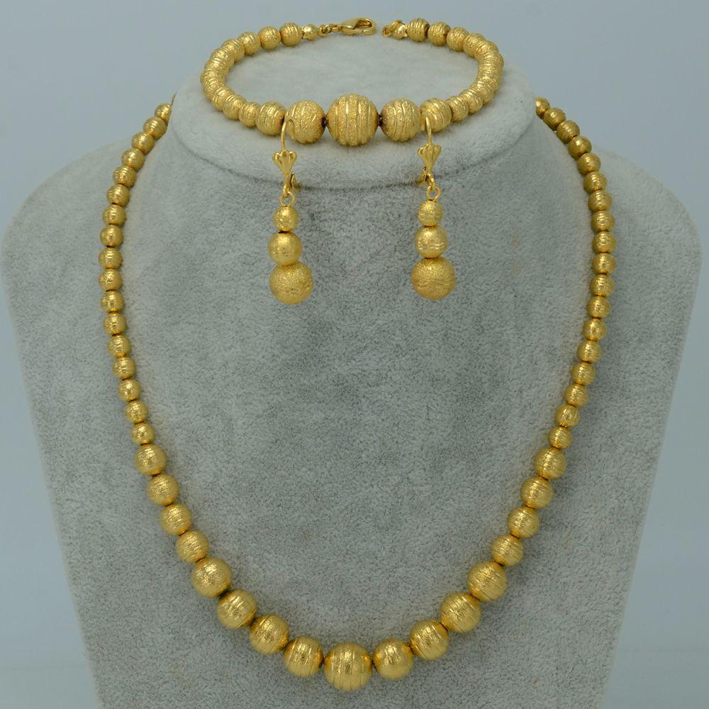 Bead necklace earrings bracelet set jewelry women ball necklaces
