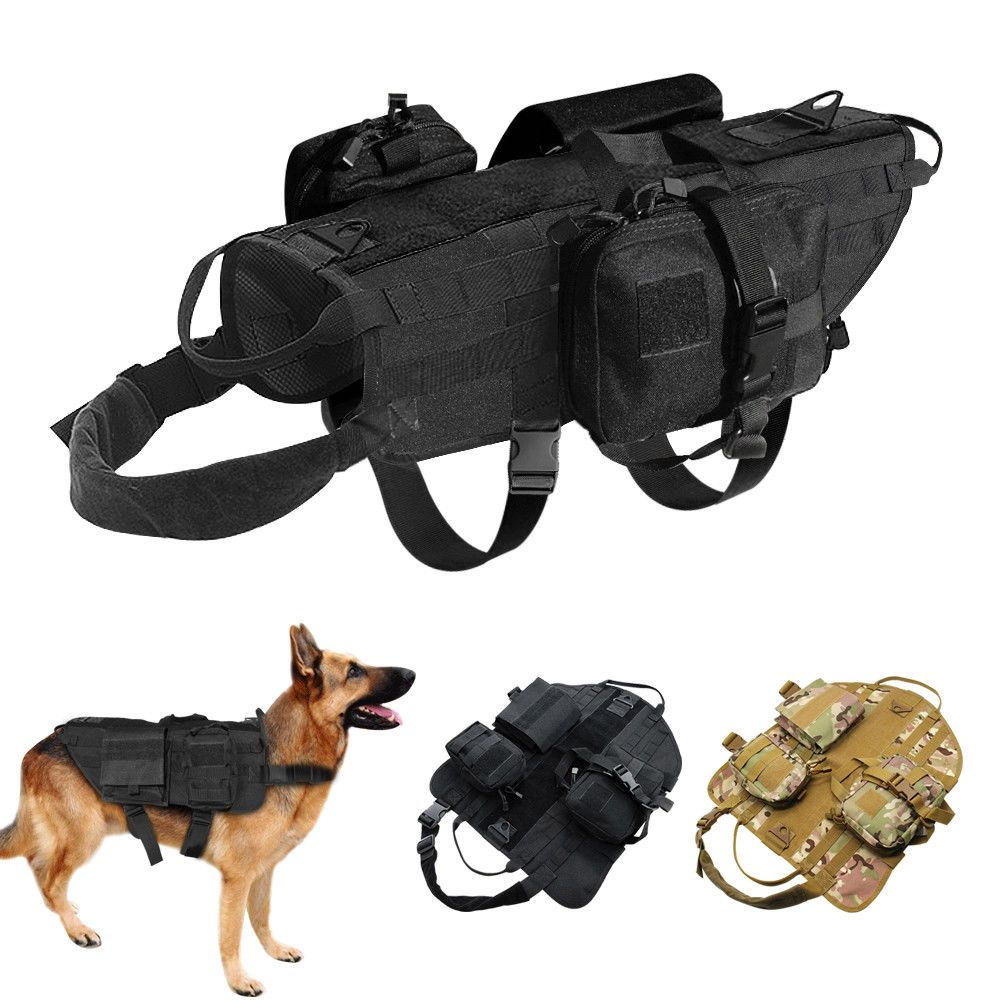 Military Molle Dog Harness K9 Tactical Vest With 3 Bags For Police