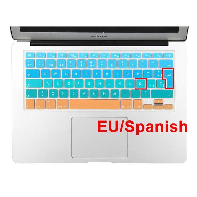Spanish English Russia Water Dust Proof Keyboard Cover for MacBook Air 13 Protector Gradual Change Colors Pro 13 15 Retina,EU Spanish Green