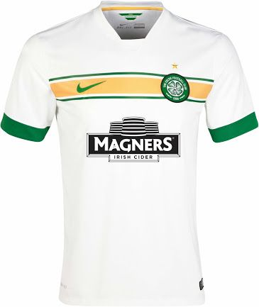 37d69e7224 Celtic FC 2014 15 Alternative 3rd Kit - Solid white with green sleeve hem.  Features a single horizontal gold band across chest with two smaller green  bands ...