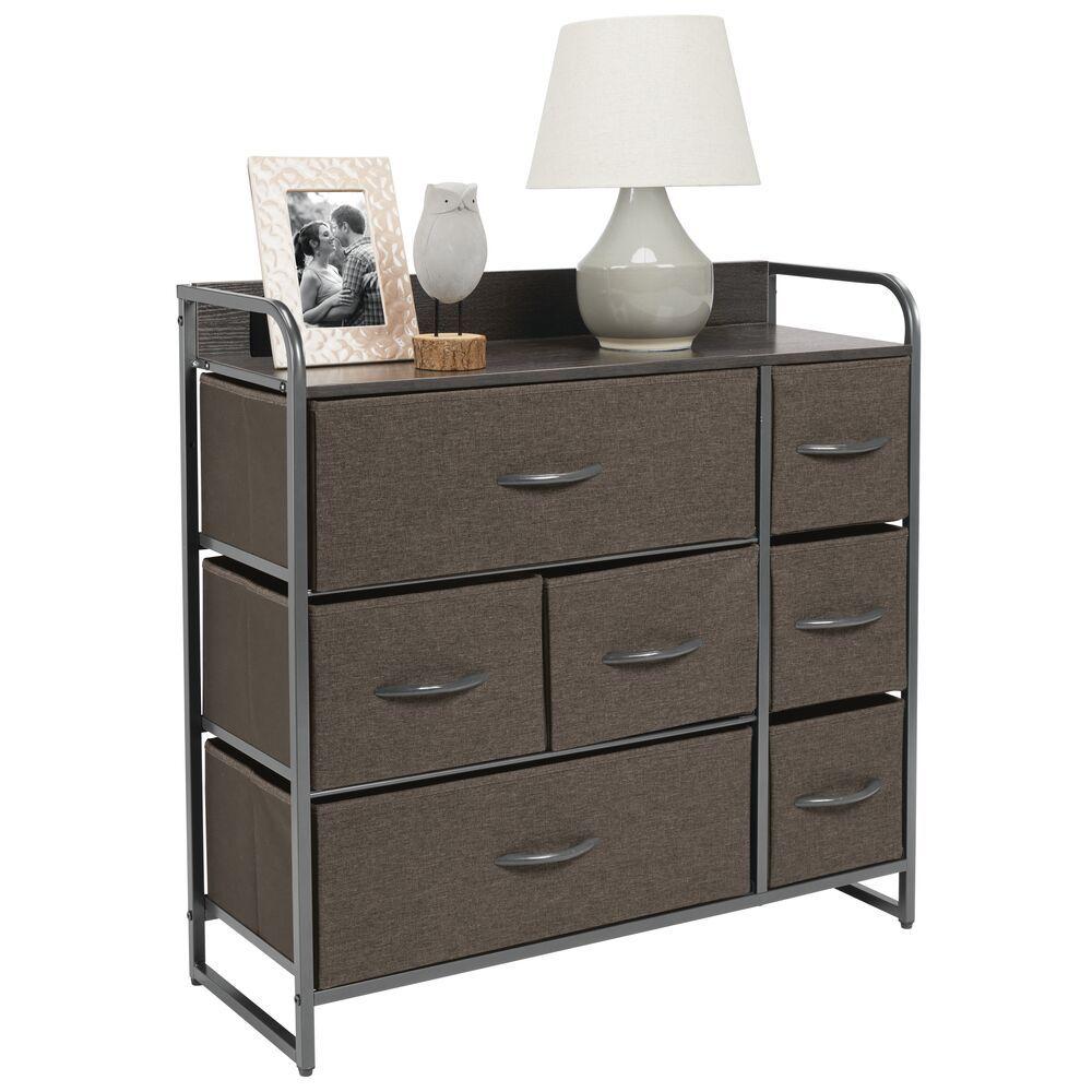 7 Drawer Wide Storage Dresser Organizer With Wood Shelf Dresser Storage Fabric Drawers Mdesign