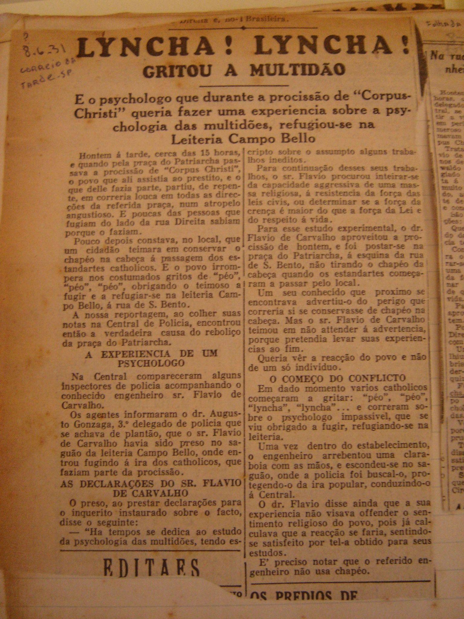8 de junho de 1931, Correio da Tarde, SP