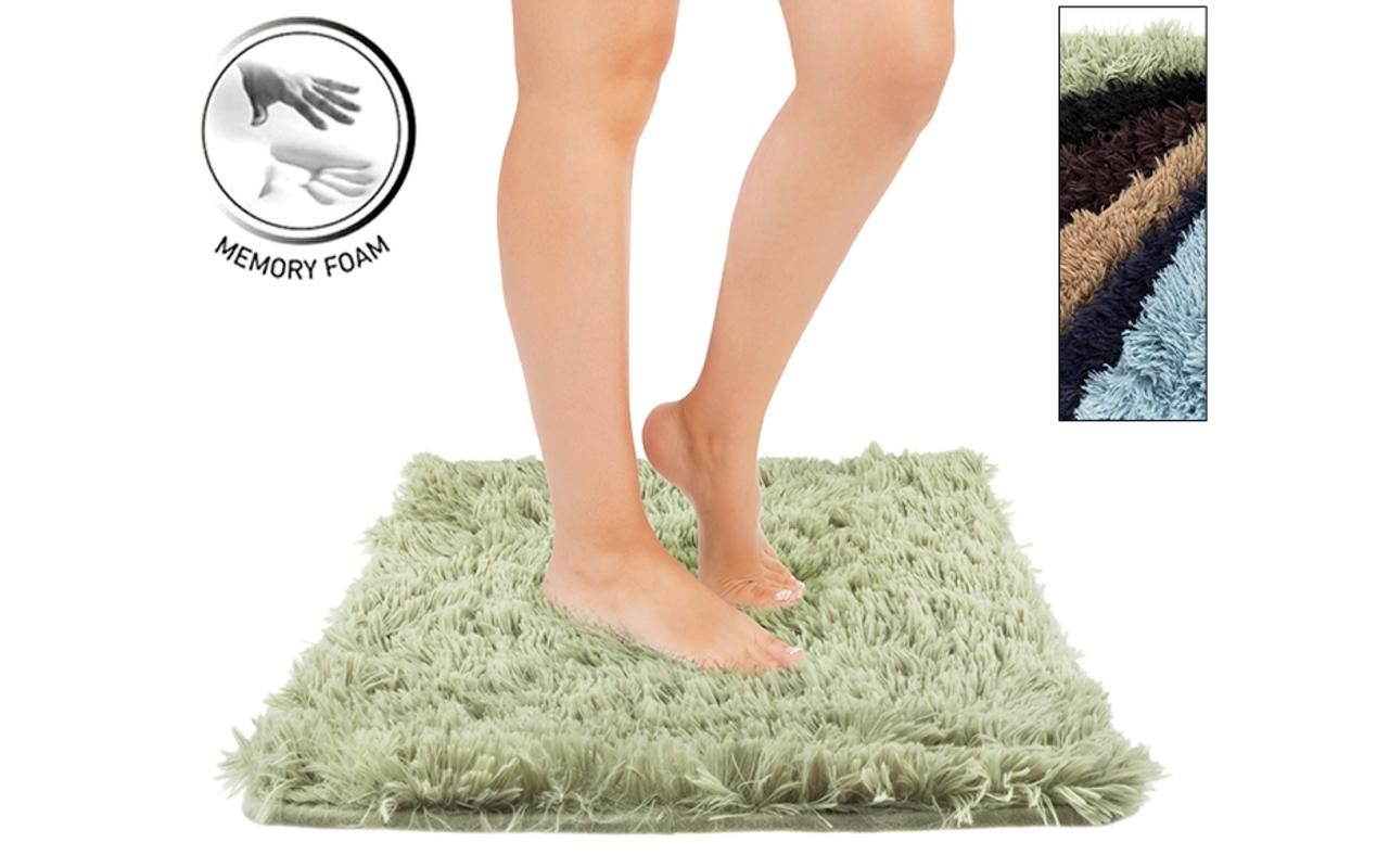 Angola Fleece 17x24 Memory Foam Bath Mat with Shag Top, Super Soft Micro-plush Fabric & Skid-Resistant Backing (Choice of 6 Colors) | $12 | dailysteals.com