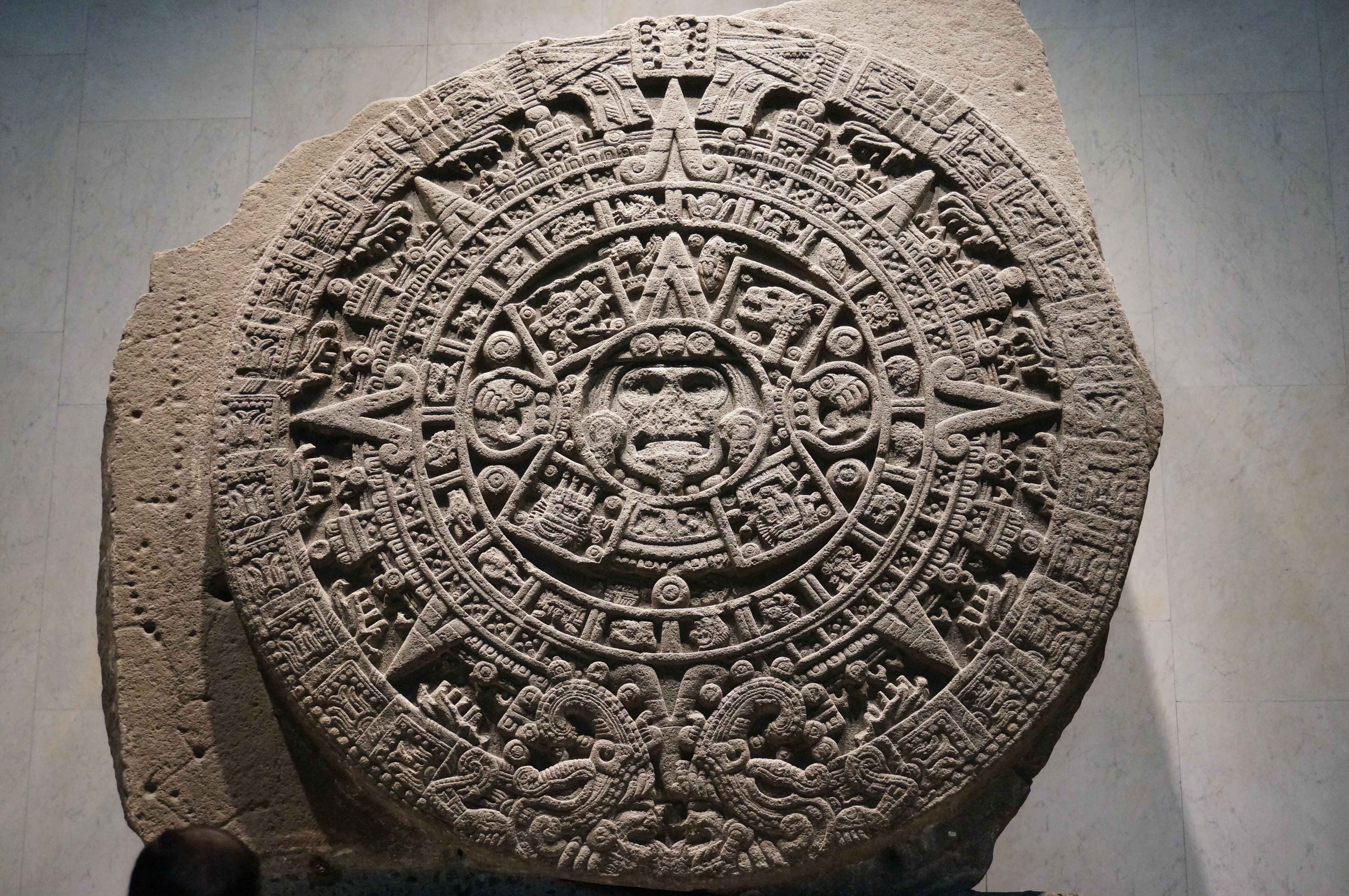 La Piedra Del Sol, or Sun Stone, which was used as a calendar by the Mexica people. Located in the Museo Nacional de Antropología (National Museum of Anthropology) in Mexico City.