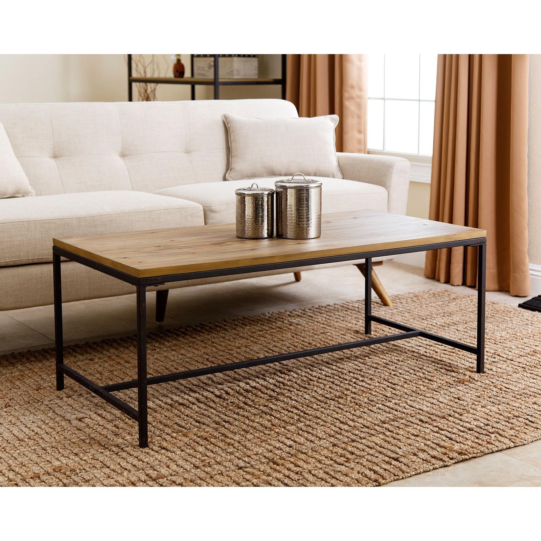 abbyson living black tan wood iron kirkwood industrial coffee table rh pinterest com